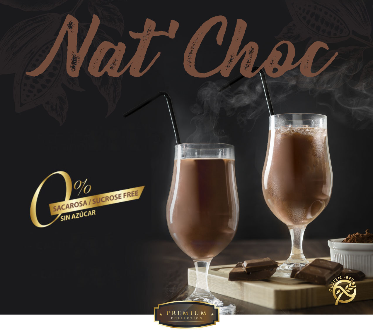 Haz que los clientes de horeca disfruten con el batido de chocolate soluble sin azúcar Simat, sin gluten y bajo en calorías